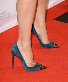 2949a999c553 sandra bullock s christian louboutin  geo 120  pumps in blue suede.   shoeporn Sandra