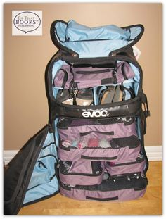#EVOC World Traveller Stand Up Bag packed with @Heys Luggage packing cubes! #TravelOrganized with @TinaIsThatGirl !