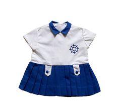 VINTAGE 60's / enfant / robe / style nautique / bleue et blanche / Tergal / stock ancien neuf / taille 18 mois