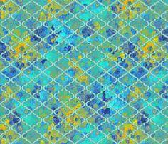 Calm blue skies in a Moroccan quatrefoil fabric by su_g on Spoonflower - custom fabric