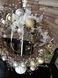 lovely wreath for front door, with tutorial by Brenda