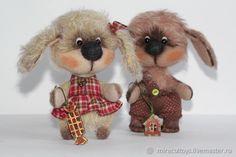 Купить Собачки Тедди - бежевый, игрушка в подарок, игрушка ручной работы, собачка игрушка