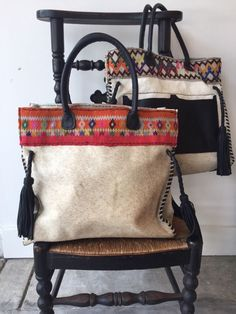 Cow hide & tribal weave bag