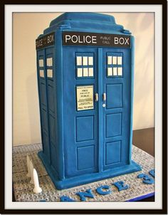 TARDIS cake..I wonder if it's bigger on the inside...oh coarse it is. But does that mean that it's more calories???
