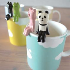 Concombre by Decole Mug and Spoon Set - Panda My Coffee, Coffee Cups, Tea Cups, Tiny Panda, Japanese Gifts, Just Give Up, Online Gift Shop, This Little Piggy, Shop Till You Drop