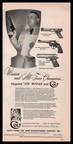 1956 COLT Match Target and Government Pistol, Officers Model Match Revolver AD