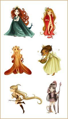 Six main chibi goddesses by *Arbetta on deviantART Hera/Juno  Demeter/Ceres Athena/Minerva Persephone/Proserpina Aphrodite/Venus Artemis/Diana