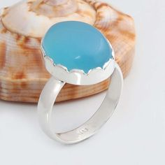 DESIGNER SOLID 925 STERLING SILVER Blue Chalcedony HOT RING 5.34g R9611 SZ-7.5 #Handmade #Ring
