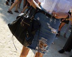 Balenciaga+Ripped skirt