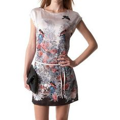 Retro Style Round Collar Bird And Floral Print Color Splicing Slimming Dress For Women - $16.79