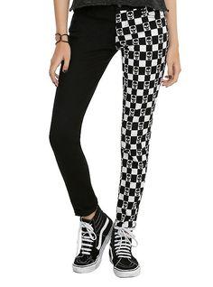 Royal Bones By Tripp Black & White Checkered Skull Split Leg Skinny Jeans,