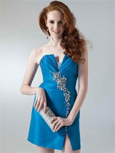 Strapless Sexy V-neck with Beadings and Slit Open Back Short Taffeta Homecoming Dress HD1819 www.homecomingstore.com $128.0000