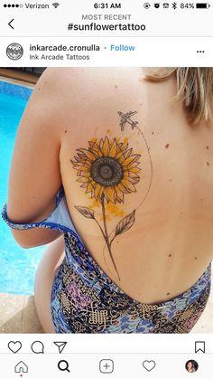 25 Sunflower Tattoos For Women - Bafbouf Watercolor Sunflower Tattoo, Sunflower Tattoo Simple, Sunflower Tattoo Sleeve, Sunflower Tattoo Shoulder, Sunflower Tattoos, Sunflower Tattoo Design, Watercolor Ideas, Rose Tattoos, Body Art Tattoos