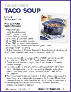 Make Taco Soup in your TupperWave Stack Cooker from Tupperware!