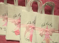 Set of 30 Paris Party Favor Bags French Themed Birthday Party Bridal Shower Baby Shower First Birthday. $54.99, via Etsy.