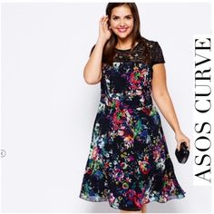 """HOST PICK ASOS Curve Skater Dress NWT Brand new, beautiful print {SOLD OUT} ASOS Curve Lipstick Boutique Skater Dress. Wear it for your special occasion. Imported from UK site, Size 18 U.S., Size 22 UK. 100% soft polyester, lace insert, zip back closure, Bust: Armpit to armpit measures 23"""" (flat lay).  10/21 HOST PICK  ✅Offers accepted via OFFER BUTTON only ✅Pls be mindful of Poshmark 20% fees ✅Same day or next day shipping ❌No trades   ❌No Lowballs ASOS Dresses"""
