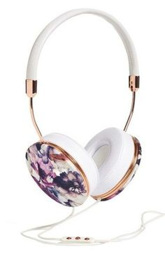 floral headphones technology holiday gift girly wishlist earphones printed headphones frends headphones hipster grunge music indie white