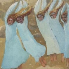 Christmas Greeting Card - Christmas Angels by Liz Vibert.