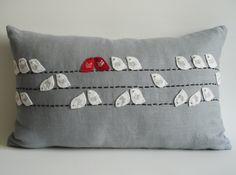 Sukan / Birds Linen Pillow Cover - 12x20 inch - Gray White Red Dark Red. $78.00, via Etsy.