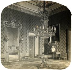 Carlos Díaz Ortiz 1920 Antesala del Rey en el Palacio Real. Fragmento de estereoscopia. La fecha de la fotografía es aproximada. (Centro) Archivo fotográfico de la Comunidad de Madrid