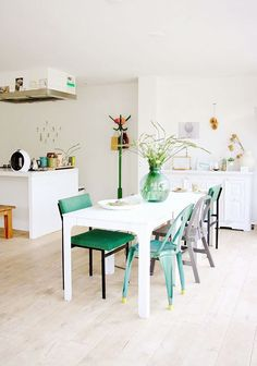 Beautiful use of eclectic green dining chairs via @sfgirlbybay / victoria smith