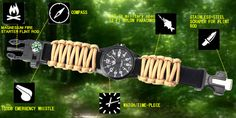 6 in 1 Outdoor Survival Watch With Flint Fire Starter - Paracord - Compass - Rescue Whistle Rope