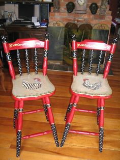 Hand painted, stenciled, and decoupaged French style stools.