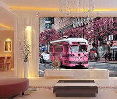 3D City Romantic Pink Trams 29 Wall Paper Wall Print Decal Wall AJ Wall Paper #AJWALLPAPER