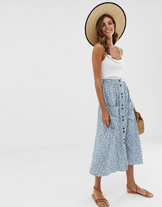 b7da71256 ASOS DESIGN button front midi skirt with pockets in blue floral print | ASOS