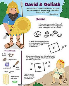 David and Goliath game - We made these during VBS one year but I LOVE this instruction print-out!