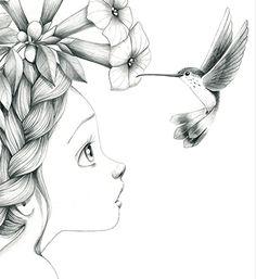 petite fille et l'oiseau