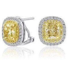 Blount Jewels 2.83 Cttw Fancy Yellow Diamond Stud Earrings (fy 2.22ct, Rd 0.34ct, Fy 0.27ct)