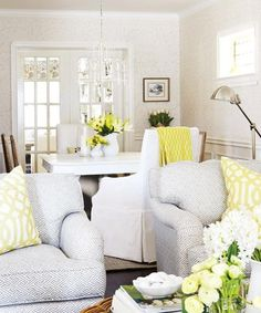 Pretty white, yellow and pale blue