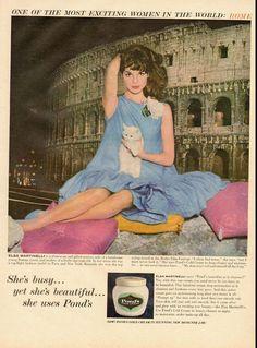 1960 vintage ad for Pond's Cold Cream, Elsa Martinelli  -031712