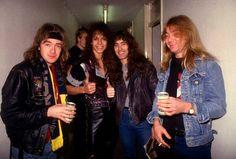 Adrian Smith, Chris DeGarmo ( ex-Queensryche ) Steve Harris & Dave Murray Photo : Robert Ellis 1984