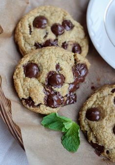 Fresh Mint Chocolate Chip Cookies Recipe ~ Says: These were a mega success. Perfectly chewy and filled with bittersweet chocolate morsels. And the background flavor of fresh mint that kicks in is surprising and amazing