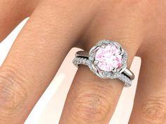 Diamond Halo Rings Set, Wedding and Engagement Rings Set, Bridal rings.
