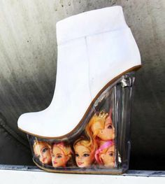 LOL! YES!!! Jeffrey Campbell Icy Shoes (White Leather and Doll Heads)   eBay