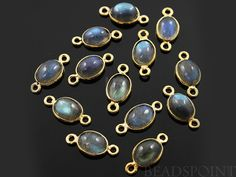 Natural Labradorite Bezel Oval Component 24K Gold by Beadspoint, $4.99