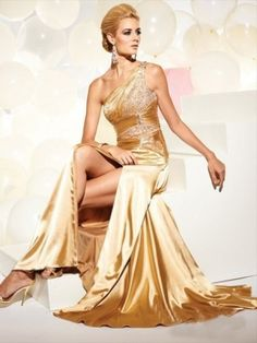 Best A-line One Shoulder Sleeveless Floor-length Elastic Woven Satin Formal Dress with Beading