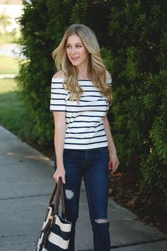 How to wear stripes on stripes via @adaydreamlove
