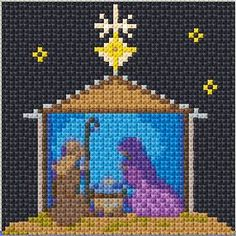Cross Stitch Kits Nativity - Free cross-stitch design 'Nativity', 50 x 50 stitches 21 colors Xmas Cross Stitch, Beaded Cross Stitch, Cross Stitch Kits, Cross Stitch Designs, Cross Stitch Embroidery, Cross Stitch Patterns, Loom Patterns, Christmas Nativity Scene, Christmas Cross