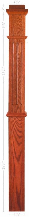 "4 ¾"" fluted box newel  Catalog - F-4375 Poplar Fluted Box Newel"