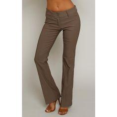 Have Bootcut Mocha Woven Slacks ($23) ❤ liked on Polyvore featuring pants, mocha, viscose pants, woven pants, bootcut dress pants, dress trousers and slacks pants