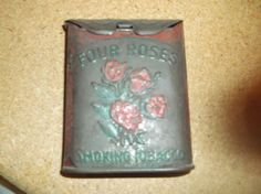 antique four roses, smoking tobacco tin