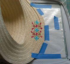 How to Embroider on Straw. Great blog post by Machine Embroidery Expert Pamela Cox