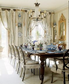 Blue and white with linen skirted chairs!