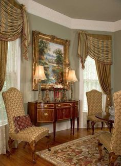 Stunning formal window treatment by Scot Robbins, simply perfect for a Southern home and exactly how I envision our Parlour to look with an 18th Century look.