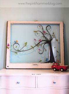 gorgeous hand painted vintage window art work-ideas-diy-window-frames-art