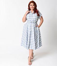 8933a6f0a3a Unique Vintage Plus Size 1950s Style Light Blue   White Gingham Alexis  1950s Style